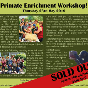 enrichment workshop 23rd May 2019 SOLD OUT